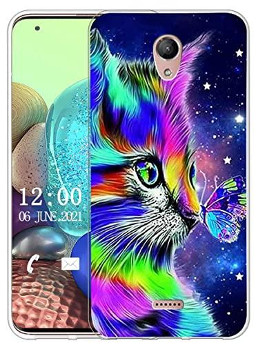 Sunrive Kompatibel mit Wiko U Feel Fab Hülle Silikon, Transparent Handyhülle Schutzhülle Etui Hülle (X Katze 1)+Gratis Universal Eingabestift MEHRWEG