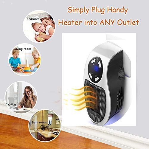 Nifogo heizlüfter,Mini-Heizung,Steckdosen-Heizlüfter,mit Thermostat, Timer, Display,Tragbare und leistungsstarke, für zu Hause und unterwegs (Langes Weiß)
