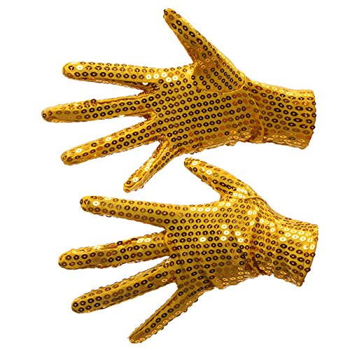 Silver Sequin Dance Gloves; Party Halloween- One pair, Two gloves (Adults, Gold Sequin Glove)