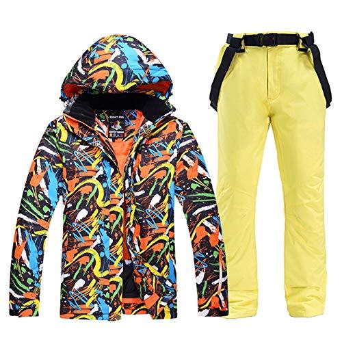 OMING Skianzüge -30 Herren und Snowboard Bekleidung wasserdicht Winddicht Outdoor-Winter-Kostüme Set Skijacke + Strap Pant Wear Schneeanzug Frauen Skianzüge für Mädchen (Color : J, Size : L)