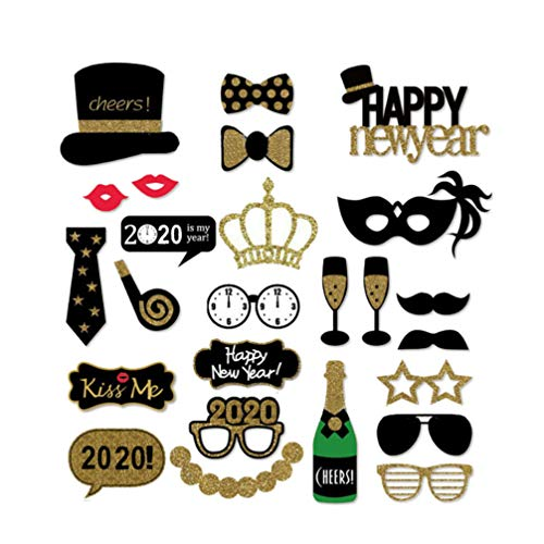Amosfun Silvester Foto Stand Requisiten-2020 Silvester Party Dekorationen-Packung mit 25-Masken Hüte Lippen Schnurrbärte Kronen
