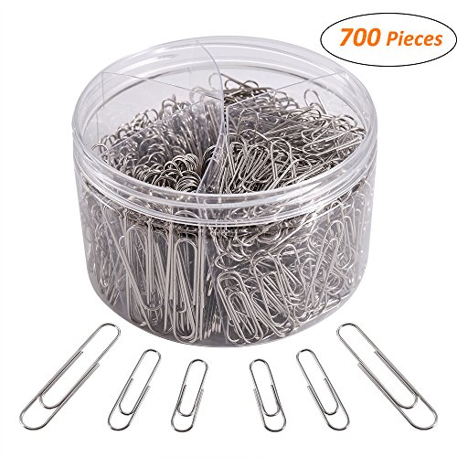 700 Paper Clips,Medium and Jumbo Size,Paperclips for Office School and Personal Use(28 mm,33mm,50 mm) (Silver)