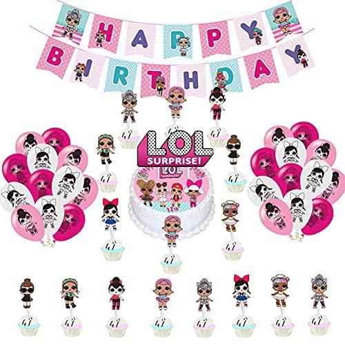 BESTZY LOL Luftballons Geburtstag Dekoration LOL Thema Alles Gute zum Geburtstag Banner LOL Überraschung Puppen Deko Ballons Cake Topper für Kinder Partyzubehör 36 Stück