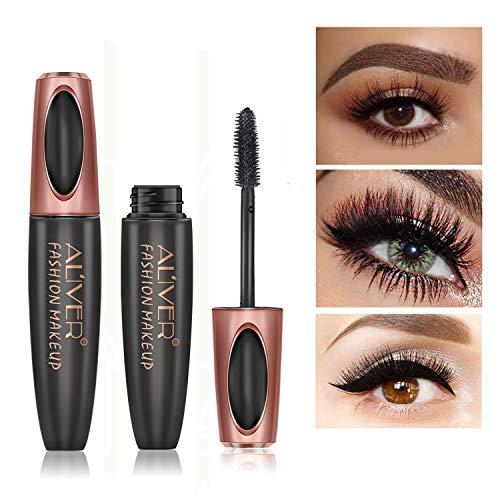 4D Silk Fiber Wimperntusche, Extra Long Lash Verlängerung & Volumen Eyelash Mascara Wasserdicht...