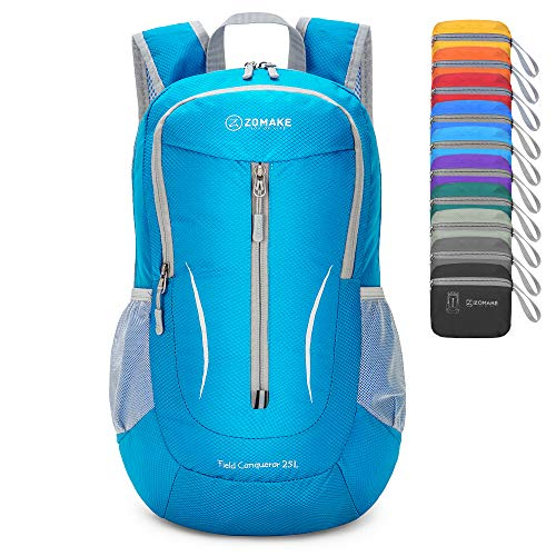 ZOMAKE Ultra Lightweight Packable Rucksack, 25L Klein Wasserfest Wandern Daypack Faltbarer Reiserucksack für Männer Frauen im Freien (Hellblau)