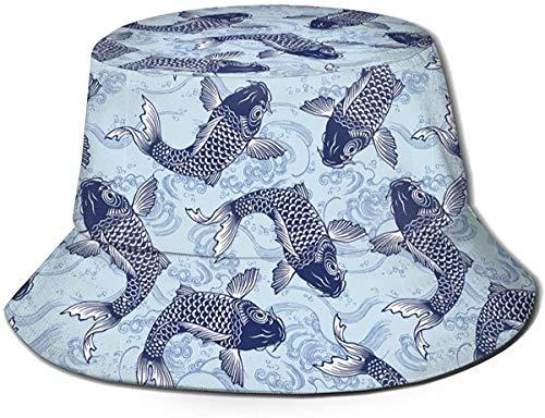 Unisex Ethnic Geckos Travel Bucket Hat Summer Fisherman Cap Sombrero para el Sol-Carpa Japonesa