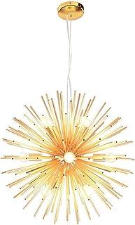 Dellemade Sputnik - Lámpara de araña dorada con 12 luces vintage para comedor, salón, cocina, oficina, cafetería, restaurante