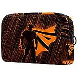 Bolsa de maquillaje personalizada para brochas de maquillaje, bolsas de aseo portátiles para mujeres, bolso cosmético, organizador de viaje, superhéroe en la lluvia