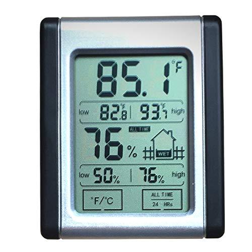 Misuratore di umidità di temperatura digitale, display LCD touch screen monitor ° C/° F, igrometro elettronico Taglia libera As Shown