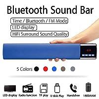 ホームテレビPC Bluetoothサウンドバー、ポータブルワイヤレスサブウーファー3DサラウンドスピーカーHifiサポートFMラジオクロックTF USB,ブルー