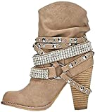 Minetom Stivali Donna Stivali Donna Tacco Quadre Pedana Gambe Alta Pompa Stivali Scarpe Albicocca EU 38