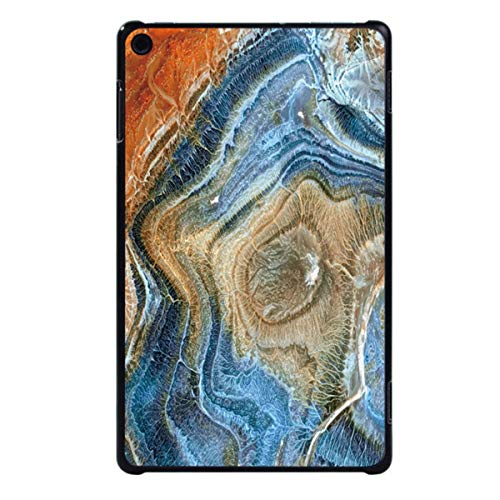 for Amazon Fire HD 8 (6th/7th/8th Gen, 2016 2017 2018 Release) -Tablet PC Plastic Marble Pattern Slim Stand Case Cover,Blue Rainbow Marble