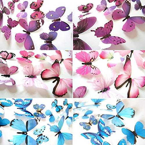 BLOUR 12 Uds Mariposas 3D Pegatinas de Pared calcomanías Año Nuevo decoración del hogar Mariposa Decoraciones de Boda PVC Sala de Estar Papel Tapiz Pegatinas