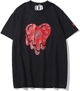 Fashion Play Letter Heart Cashew Flower EU Dissolving Heart Short Sleeve T-Shirt