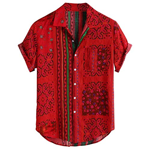 MIUYQ Shirts Men Casual Short Sleeve,Cool and Thin Breathable Cotton Buttons top,Vintage Ethnic Printed,V Turn Down Collar Shirts Red