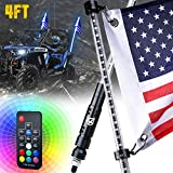 Xprite 4FT RGB Whip Lights, LED Flexible Whip Lights with Remote Control and Flag Pole Offroad Warning Lighted Safety Antenna for 2021 Polaris RZR XP 1000, UTV, ATV, Yamaha, Can Am Maverick X3