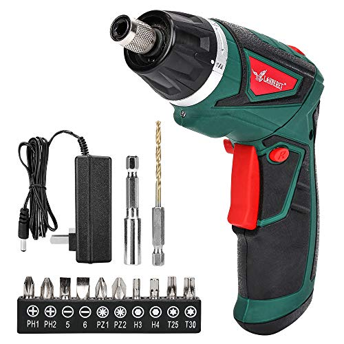 LANNERET Electric Screwdriver Cordless Household 7.2 V 1500mAh Lithium-Ion Rechargeable Power Screw Guns with 6+1 Torque LED Light,Green