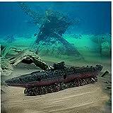 Acuario Peces Tanque paisajismo simulación Resina naufragio Buque de Guerra Submarino Modelo dilapidado mar Guerra naufragio Escondido casa
