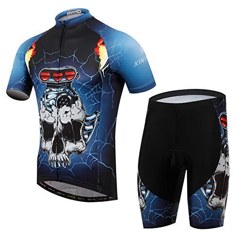 Maglia da Ciclismo da Uomo Estiva Manica Corta Teschio Blu Diavolo, t-Shirt Traspirante ad Asciugatura Rapida con Cerniera Completa, Set di Jersey da Bici Outdoor Sport PRO,L