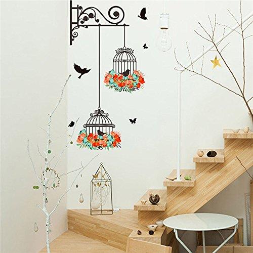 Coloré Fleur Birdcage Stickers muraux Autocollant vol Oiseaux Plantes adhésif Salon Papier Peint Chambre pépinière fenêtre décor, 56x76 cm, Un