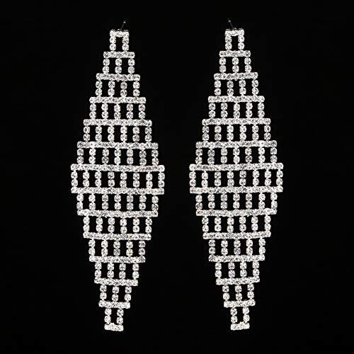 FGFDHJ Pendientes Colgantes de Cristal Completo para Mujer, Accesorios Nupciales para Fiesta de Boda, Pendientes de Vacaciones de Color Dorado
