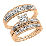 Dazzlingrock Collection 0.50 Carat (ctw) Round White Diamond Mens and Womens Trio set Ring With Wedding Anniversary Band 1/2 CT, 10K Rose Gold