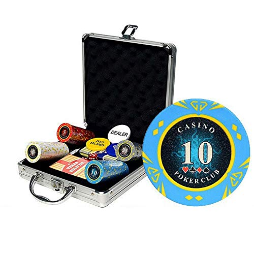 Bueuwe 100 Pcs Chips (14G) Poker Set with Aluminum Case Complete Poker Chips Playing Game Sets with Casino Style Chips, Playing Cards, Dice, Tablecloth