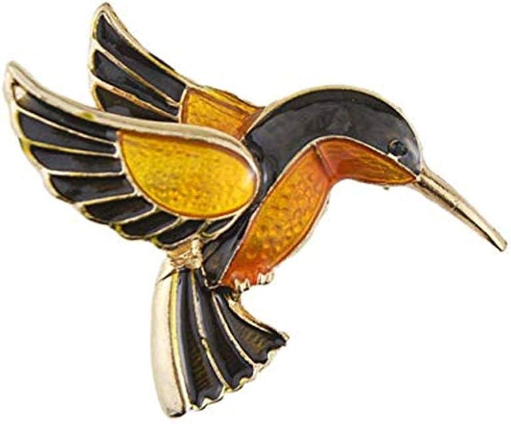 AILUOR Antique Gold Tone Enamel Bird Hummingbird Multi Color Austrian Crystal Pin Brooch Jewelry for Women Christmas Gift