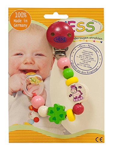 Hess Wooden Baby Toy Pacifier Horse Chain Clip