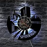 MASERTT Perter Parker Spider Vinile Album Re-purposed Record Clock Orologio da Parete al Quarzo Silenzioso per la Camera dei Bambini Amanti dei Fumetti Regalo-con LED