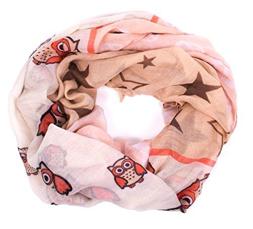 Damen Schal Tuch mit Print Eule Peace und Sterne rosa/beige