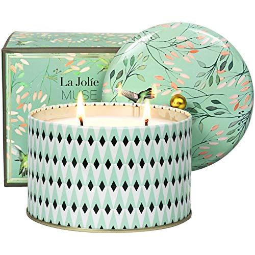 Scented Candle, 2 Wicks Large Aromatherapy Candle Gift, White Tea, 14.1Oz, Birthday Candle Gifts for Women
