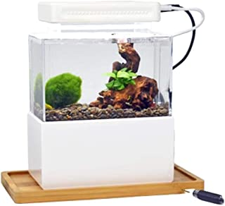 KQHSM Mini plástico pecera portátil de Escritorio Aquaponic Acuario Betta Fish Bowl con LED y la Bomba de Aire silencioso for decoración (Color : A)