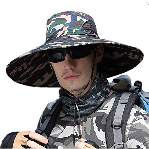 HYCOPROT Sombreros de Sol Súper Anchos para Hombres, Cubo de Pesca al Aire Libre Sombrero Boonie Gorra de Malla Transpirable Impermeable para Senderismo Viajes Camping (Camuflaje Amarillo)