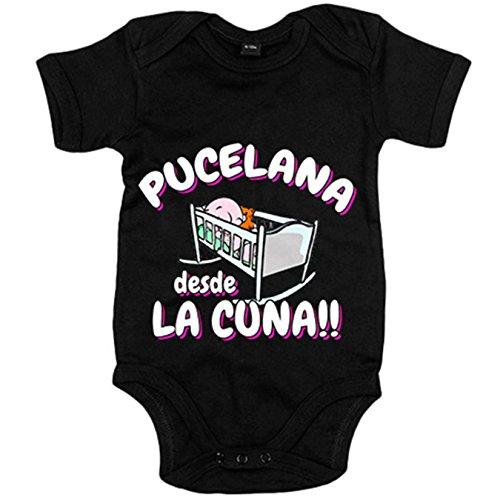 Body bebé Pucelana desde la cuna Valladolid fútbol - Negro, 6-12 meses