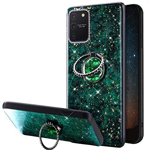 Kompatibel mit Samsung Galaxy S10 Lite Hülle Glänzend Bling Glitzer Silikon Schutzhülle mit Diamant 360 Grad Ring Ständer Ultra dünn Weiches TPU Stoßfest Handyhülle für Galaxy S10 Lite/A91,Grün