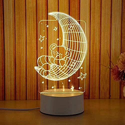 wangzj Moon Bear Night Lights Lámpara de noche Luces de habitación Lámpara de regalo 3D USB Night Light Christmas Birthday Gift led