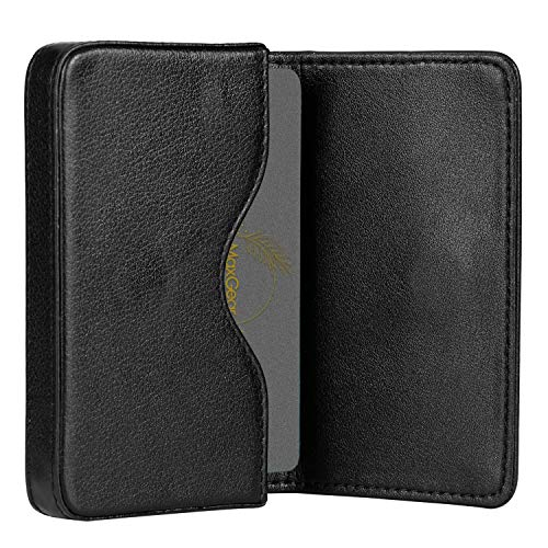 MaxGear Business Card Holder Case Leather Pocket Business Card Holders Professional Portable Business Cards Wallets with Magnetic Shut for Men and Women, RFID-Blocking, Black