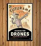 Aymsm Habitacin Infantil Decoracin de la Pared Futurama Cartoon Classic Cartoon Art Pintura Seda Lienzo Poster Wall Home Decor 40X60 cm Sin Marco
