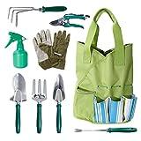 Wolfwise Set di Attrezzi per Giardino 9 Pezzi Set di utensili manuali per Guanti da Giardino Pruner in Acciaio Inox e Sacchetto Portautensili