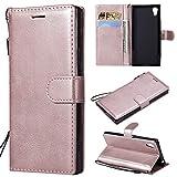 BgkjZX Funda para Sony Xperia XA1/Z6(5.0') Funda Protectora de Color sólido con Cubierta Protectora de Cuero Anti-caída - Oro Rosa