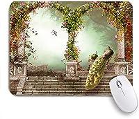 Yaoni ゲーミング マウスパッド,孔雀の古典的な貴族の鳥は森の古代の城の門を魅了しました,マウスパッド レーザー&光学マウス対応 マウスパッド おしゃれ ゲームおよびオフィス用 滑り止め 防水 PC ラップトップ