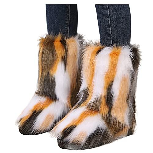 Dasongff Botas de invierno para mujer, planas, para la nieve
