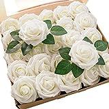 Ksnnrsng Fleurs Rose Artificielles, Rose Artificiel en Mousse avec Tiges & Feuilles Fausse Fleur pour DIY, Bouquets de Mariage, centres de Table, décoration de Fête (25pièces, Ivory)
