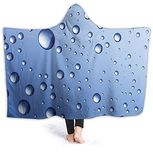 ThinkingPower Poncho Blanket Up Rain Water Drops Glass Surface Aqua Picture Blue Sloth Hooded Blanket Great for Sitting at Desk All Day 60 x 50 Inch
