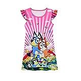 Casual Blue Puppy Princess Dress Toddler Girls Cartoon Graphic Summer Dresses Cute Swing Beach Dress Short Sleeve Kids Gift Red 6-7 Years
