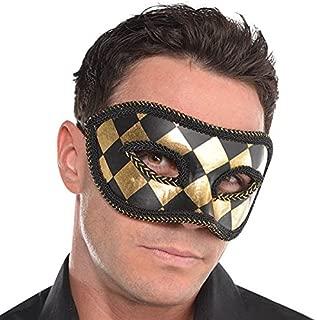 Amscan 845664 Harlequin Black & Gold Mask