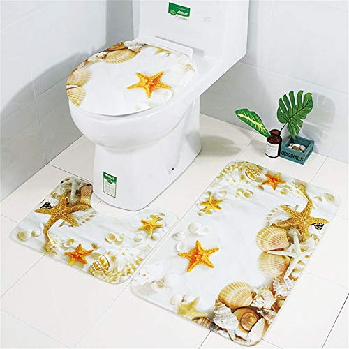 European Style Fashion Printing Polyester Toilet 3-Piece Set, Water-Absorbing And Mites Removal, Moisture-Proof Mat, Bathroom And Toilet Combination Kit