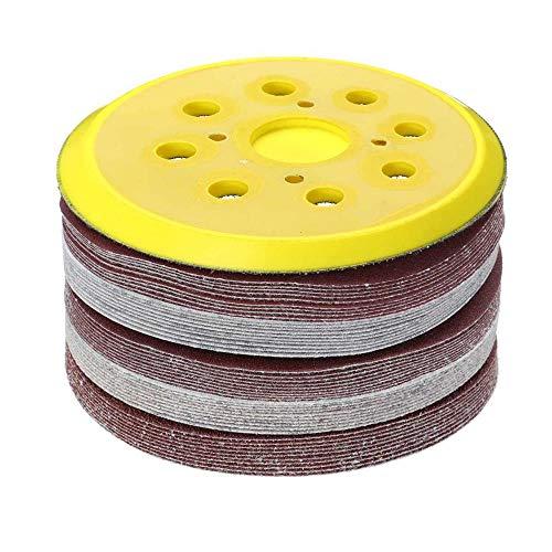 50 Uds + 125mm placa de Motor grano forma redonda discos de lijado hoja de pulido papel de lija lijadora de 8 agujeros almohadilla de pulido 60/80/120/180/240