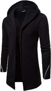 Nansiche Mens Winter Warm Trench Coat Jacket Hoody Cardigan Sweatshirt Long Sleeve Longline Pullover